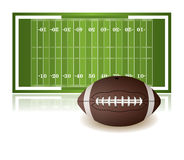 American Football Field and Ball Isolated on White Stock Photo
