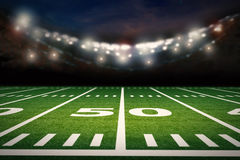 American football field. 3d rendering empty american football field with stadium Royalty Free Stock Photos