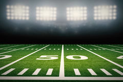 American football field. 3d rendering empty american football field with stadium royalty free illustration