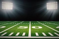 American football field. 3d rendering empty american football field with stadium stock illustration