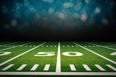 American football field. 3d rendering empty american football field with stadium Stock Images