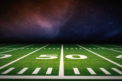 American football field. 3d rendering empty american football field with stadium royalty free stock image