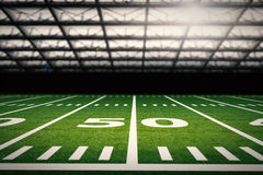 American football field. 3d rendering empty american football field with stadium Stock Image