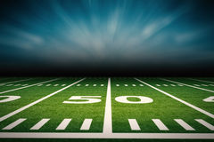 American football field. 3d rendering empty american football field with stadium