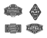 American football field geometric team or league. Badge, sport site logo, label, insignia set. Graphic vintage design for t-shirt, web. Monochrome print  on a Stock Photos