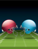 American Football Field and Helmets. A vector illustration of an American Football field and helmets. EPS 10. File contains transparencies. Gradient mesh only Royalty Free Stock Photo