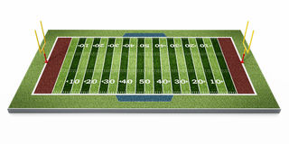 American football field isolated on white background. 3D illustration.  Stock Photo