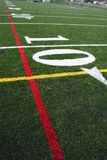 American Football Field Marker. Starting at the ten yard line looking across the football field Stock Images