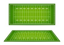 American football field with marking. Football field with markup in top view and 3d perspective view. Vector Stock Photos