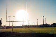 American Football Field Outdoors Goal Posts Green Grass Beautifu. L Day Stock Photos