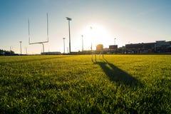 American Football Field Outdoors Goal Posts Green Grass Beautifu. L Day Stock Photo