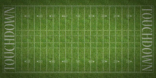American Football Field. An overhead view of an american football field with white markings painted on grass Stock Images