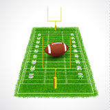 American football field perspective view with real. Istic grass textured, Vector illustration Royalty Free Stock Image