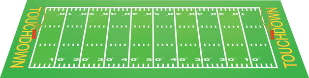 American football field perspective view Royalty Free Stock Photo