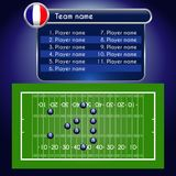 American Football field and Player Lineup with set of rugby infographic elements. Stock Image