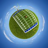 American football field. Round american football field on the globe - 3D illustration Royalty Free Stock Photography