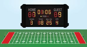 American football field with score board. Vector illustration Stock Photography