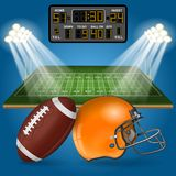 American Football Field with Scoreboard Stock Photos