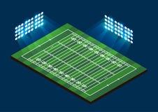 American Football Field. Stadium with light. Vector illustration Stock Photography