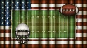 American Football Field, US Flag, Ball and Helmet Composite – 3D Illustration stock illustration