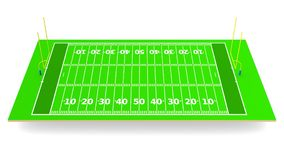 American football field 3d rendering. American football field on white background 3d rendering Royalty Free Stock Image