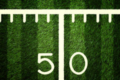 American Football Field 50 Yard Line Closeup Royalty Free Stock Image