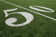 American Football Fifty Yard line. The Fifty Yard Line of an American Football Field Royalty Free Stock Image