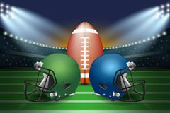 American football final match concept. Silver and green Helmets. And football on field of stadium with spotlight background. Vector Illustration Royalty Free Stock Image