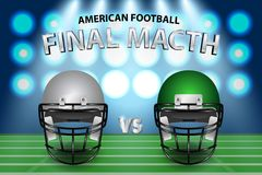 American football final match concept. Silver and green Helmets. On field with spotlight background. Vector Illustration Royalty Free Stock Image