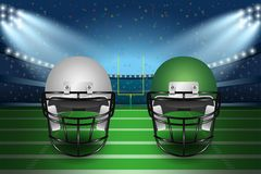 American football final match concept. Silver and green Helmets. On field of stadium with spotlight background. Vector Illustration Stock Photos