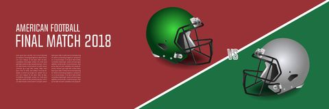 American football final match concept. Silver, green Helmets and. Football on field background. Advertising template for banner, wallpaper, webpage or billboard Stock Photography