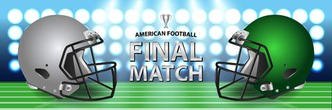 American football final match concept. Silver, green Helmets and. Football on field with spotlight background. Advertising template for banner, wallpaper Royalty Free Stock Photography