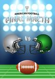 American football final match poster concept. Silver, green Helm. Ets and football on field with spotlight background. Vector Illustration Stock Photography