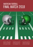 American football final match poster concept. Silver, green Helm. Ets and football on field background. Vector Illustration Stock Photography