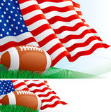 American football and flag Stock Photography