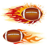 American football with flames Royalty Free Stock Photography