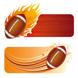 American football with flames. American football design element and flames Royalty Free Stock Photo
