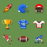 American football flat icons set Stock Photography