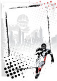 American football  frame. American football player in the grungy background Royalty Free Stock Photography