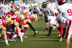 American football game. Minsk Litwins face off against Moscow Bruins September 29, 2012 in Moscow. Russian and Belorussian teams played in final of the Eastern Royalty Free Stock Image