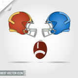 American Football game helmets and ball, teams. Football helmets and ball, teams facing each other, ready for the game start. Vector illustration Royalty Free Stock Image