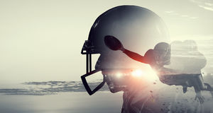American football game . Mixed media Stock Photography