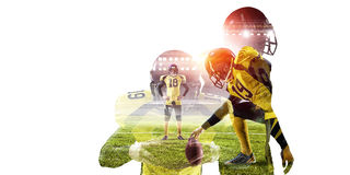American football game . Mixed media royalty free stock images