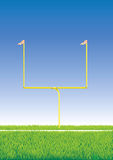 American football goalpost. American football goalpost with detailed field grass Royalty Free Stock Image