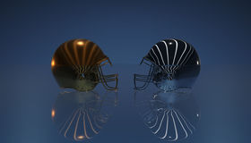 American football gold and silver helmets on black dark background, 3d rendering. American football helmets, 3d render Stock Images