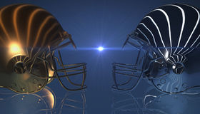American football gold and silver helmets on black dark background, 3d rendering. American football helmets, 3d render Royalty Free Stock Photography