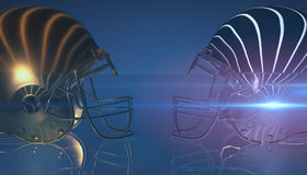 American football gold and silver helmets on black dark background, 3d rendering. American football helmets, 3d render Royalty Free Stock Image