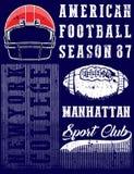 American football graphic tee. Fashion style tee print royalty free illustration