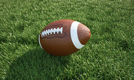 American football, on the grass. Close-up. Royalty Free Stock Photography