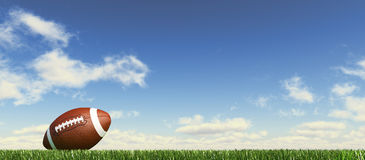 American football, on the grass, with fluffy clouds at the background.